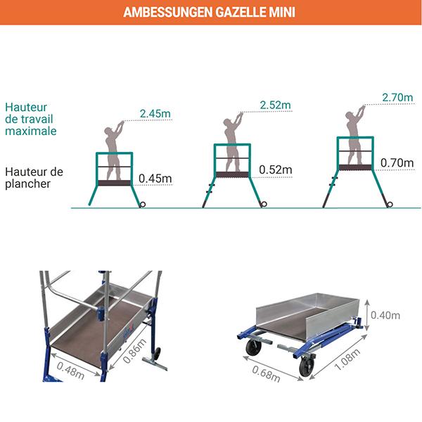abmessungen plattformleiter gazelle mini 40052