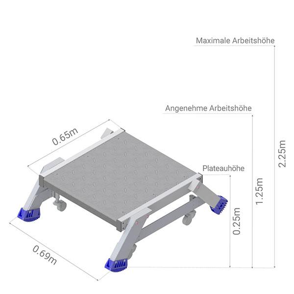 plattformleiter radern abmessungen es301
