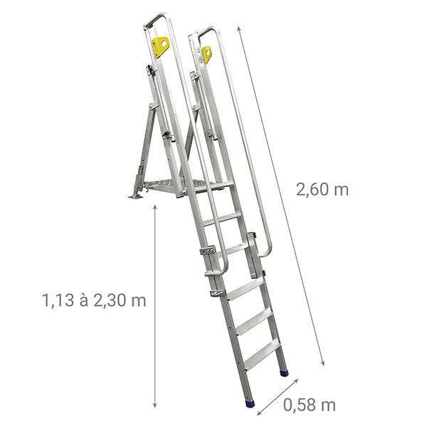 plattformleiter zugang grabentiefe abmessungen