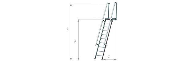Stufenaufstieg mit Plattform - Anstellwinkel 68°