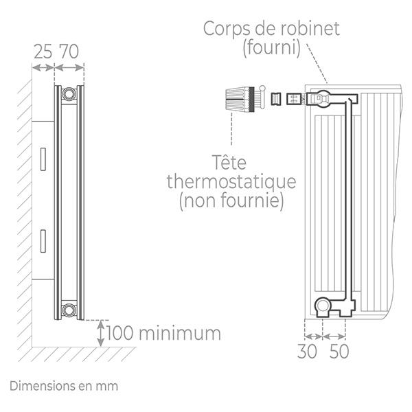 schema radiateur acier robinneterie 21750