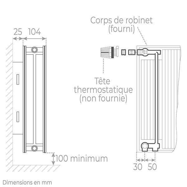schema radiateur acier robinneterie 22500
