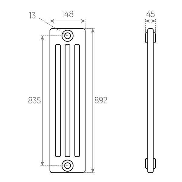 schema radiateur acier tubulaire 892 4