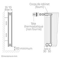 schema radiateur acier robinneterie 21600