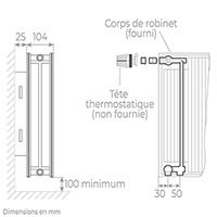 schema radiateur acier robinneterie 22750