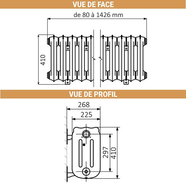 dimensions radiateur fonte hauteur 410mm
