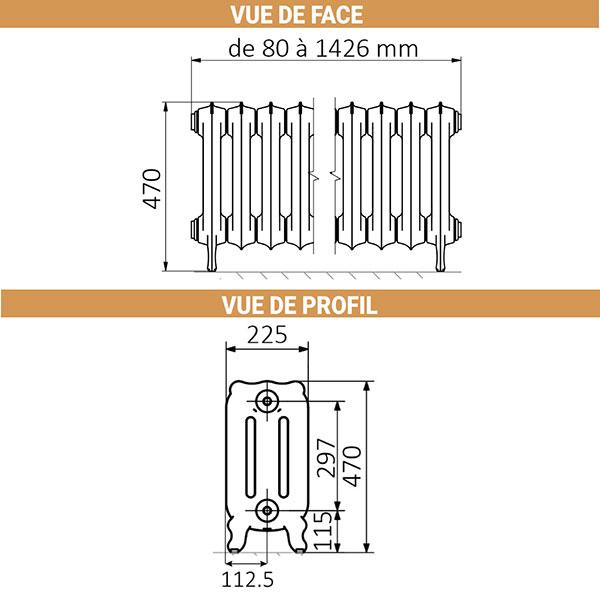 dimensions radiateur fonte hauteur 470mm