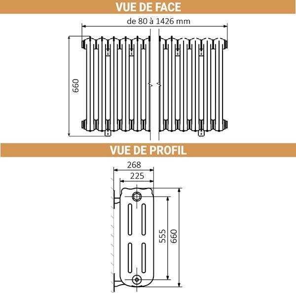 dimensions radiateur fonte hauteur 660mm