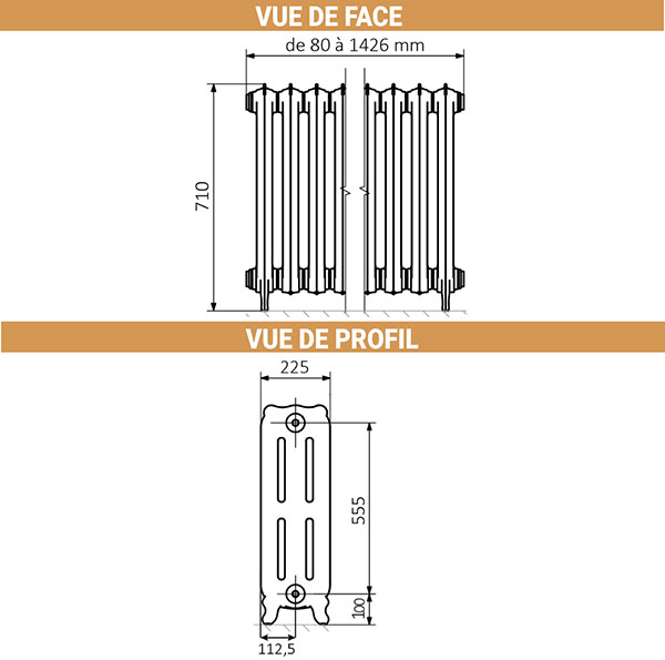 dimensions radiateur fonte hauteur 710mm