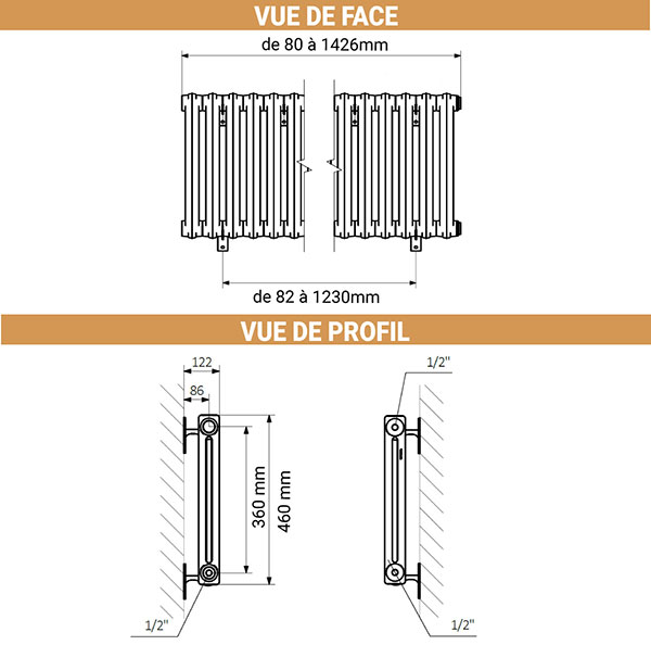 dimensions radiateur fonte noir mural 460