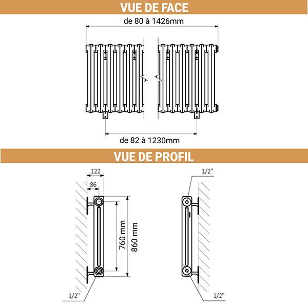 dimensions radiateur fonte noir mural 860