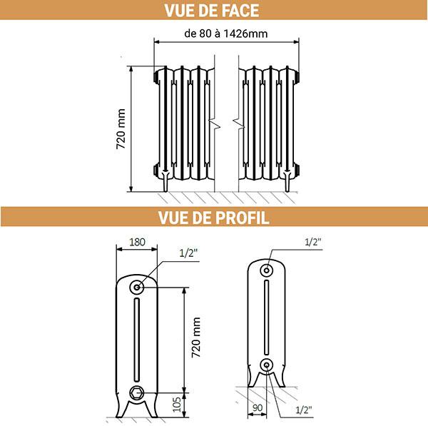 dimensions radiateur fonte noir pieds 720