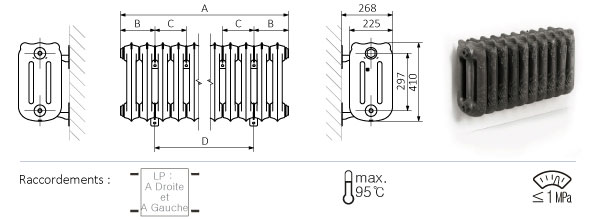 Schéma du radiateur mural 410mm