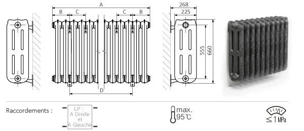 Schéma du radiateur mural 660mm