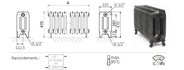 Schéma du radiateur sur pieds 470mm