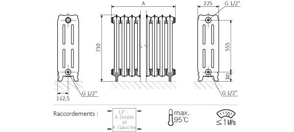 Schéma du radiateur sur pieds 710mm