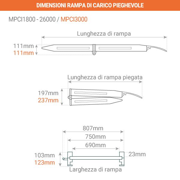 dimensioni rampa pieghevole 750mm