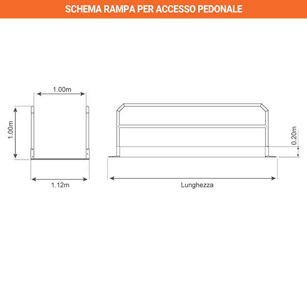 schema rampa accesso pedoni piegata