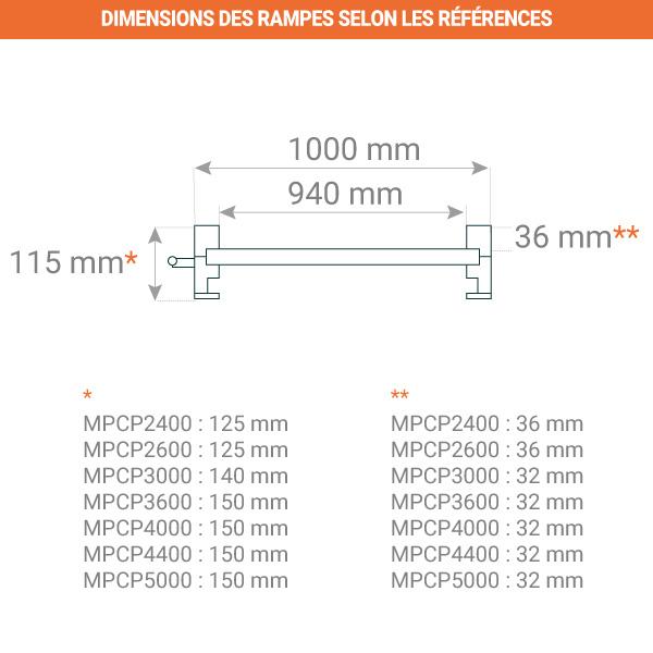 dimensions rampe transpalette electrique 940mm