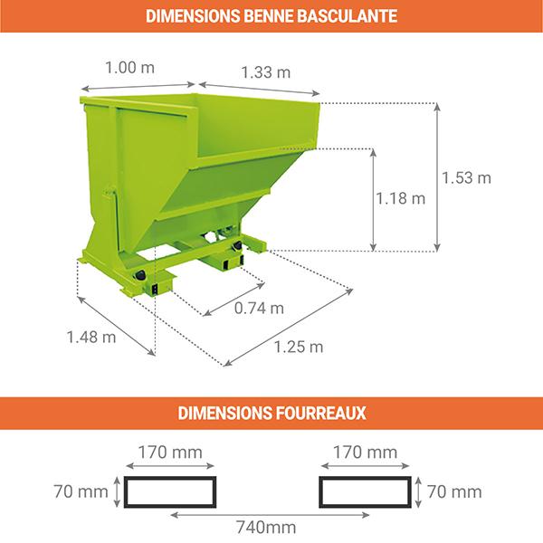 dimensions benne basculante 1250litres sans roues