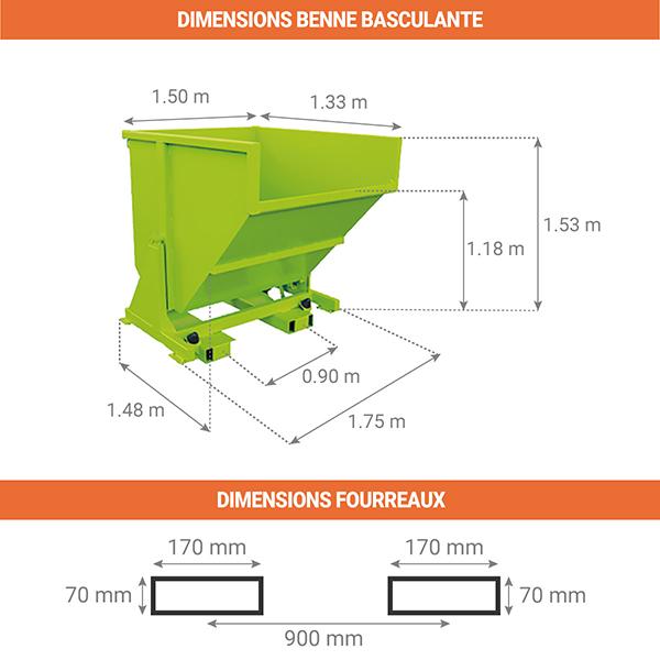 dimensions benne basculante 1870litres sans roues