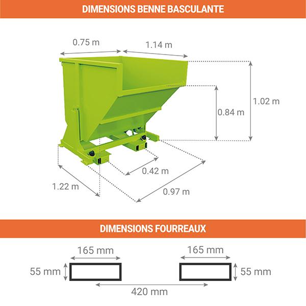 dimensions benne basculante 480litres sans roues