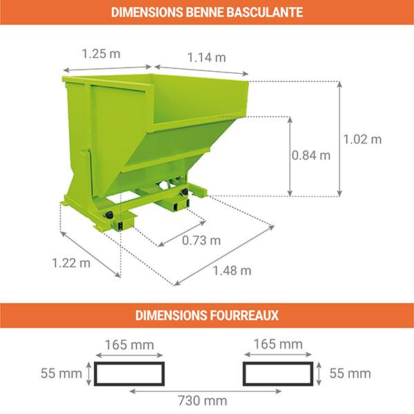 dimensions benne basculante 780litres sans roues
