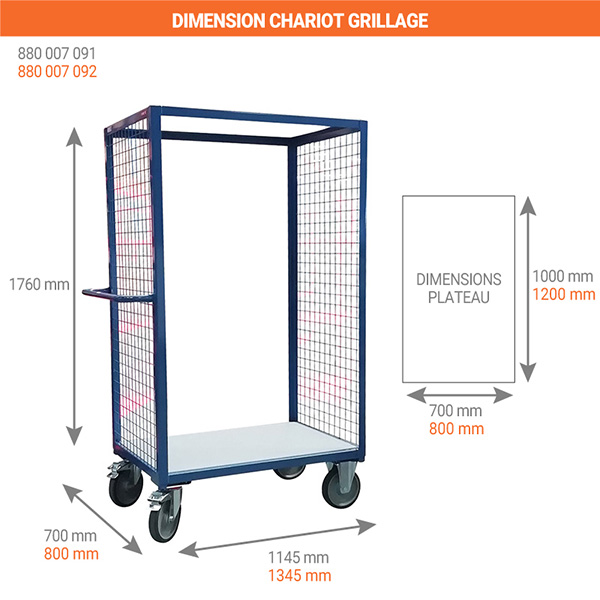 dimensions chariot grillage 2 cote 500kg