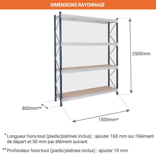 dimensions composition rayonnage EPSIVOL 4N 150 800