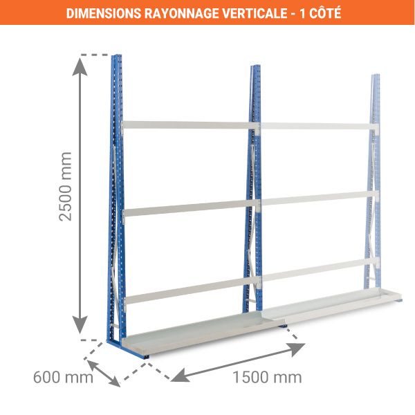 dimensions rayonnage verticale 1 face 1500mm