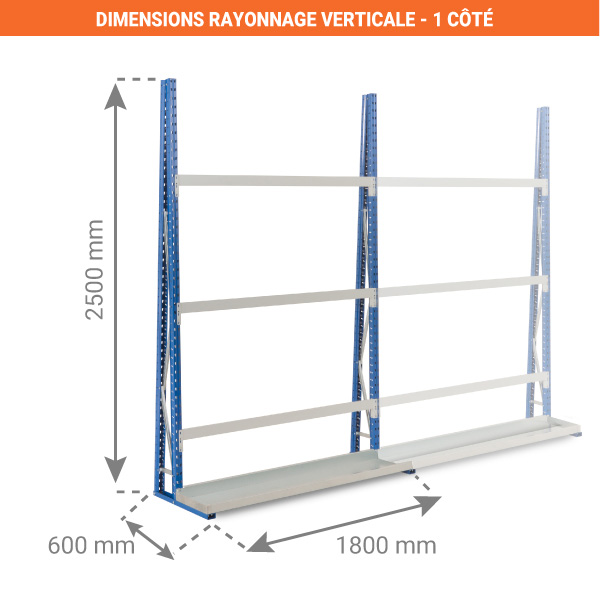 dimensions rayonnage verticale 1 face 1800mm