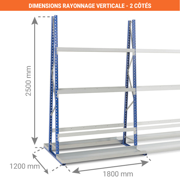 dimensions rayonnage verticale 2 face 1800mm