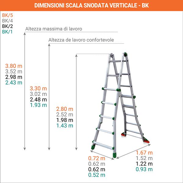 dimensioni Scala snodata verticale BK