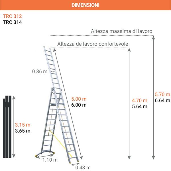 dimensioni scala 3 tronchi TRC