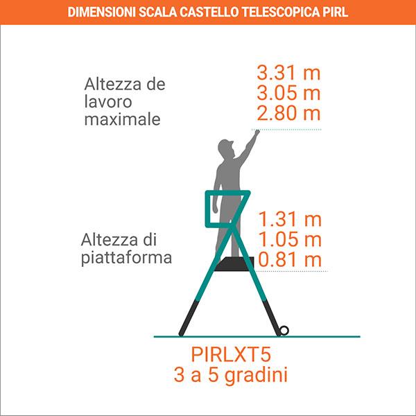 dimensioni scala castello telescopica PIRL