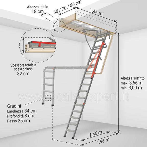 dimensioni scala retratile LMP 366