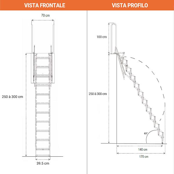 schema dimensioni scala retrattile PALCO A