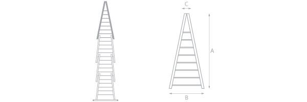 schema dell'elemento superiore della scala per lavavetri