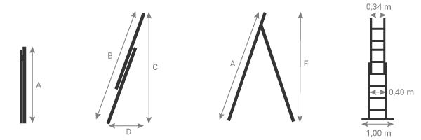 schema della scala componibile 2 tronchi