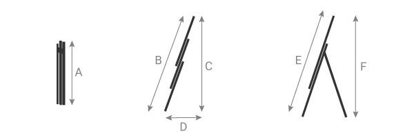 schema delle scala componibile 3 tronchi