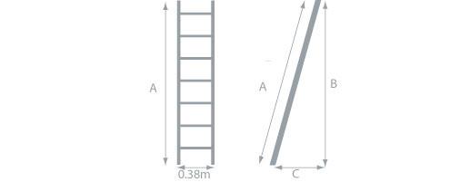 schema della  scala di legno per soppalco