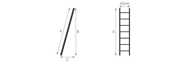 schema della scala semplice in alluminio
