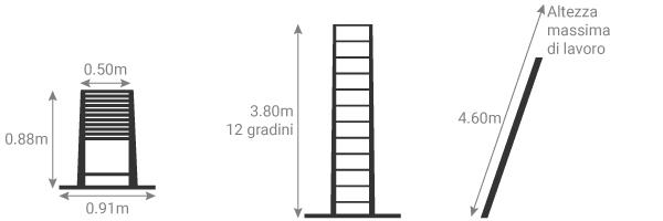 schema della scala telescopica in alluminio