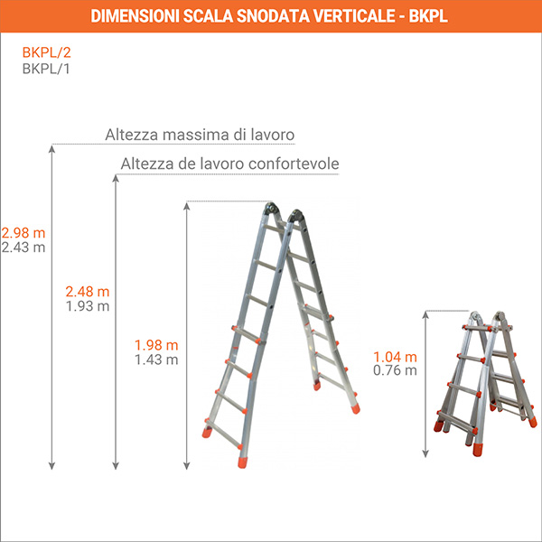 dimensioni scala snodata verticale BKPL