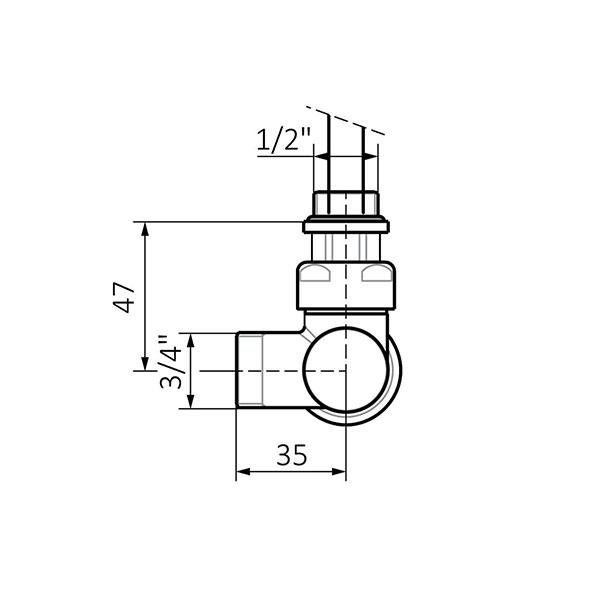 dimensions kit vanne thermostatique v2 mur profil