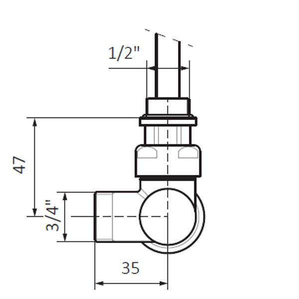 dimensions vanne thermostatique v2 mur dos