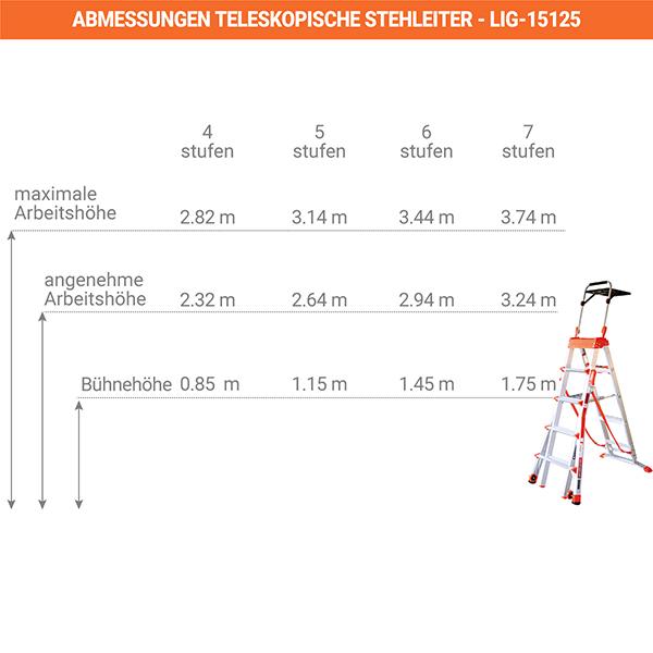 abmessungen teleskopische stehleiter LIG15125