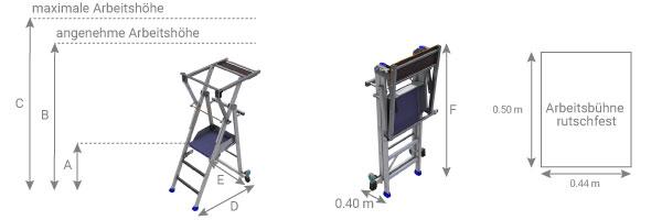Mobile Podestleiter mit Sprossen klappbar