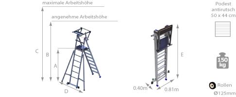 Mobile Podestleiter mit lateralen Auslegern