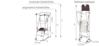 Schema Warenlager Stehleiter Stabil Evolution Voll-Alu